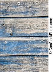 bleu, peint, vieux, planches