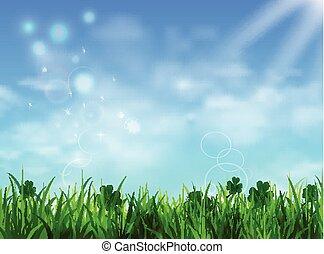 bleu, pelouse, ciel, herbe verte, levers de soleil