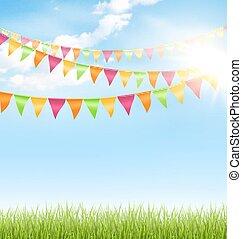 bleu, pelouse, nuages, soleil, ciel, buntings, herbe verte