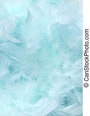 bleu, pelucheux, ciel, nuageux, fond, plume