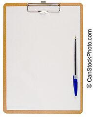 bleu, pen., blanc, presse-papiers, papier