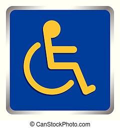 bleu, pente, carrée, conseils, échelle, cadre, incapacité, handicapé, signe, handicapé, couleurs, fond, manière, signes, sentier, écusson, symbole, gabarit