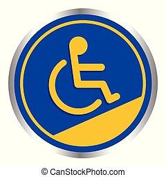 bleu, pente, conseils, échelle, cadre, incapacité, handicapé, signe, handicapé, couleurs, fond, manière, signes, sentier, cercle, écusson, symbole, gabarit