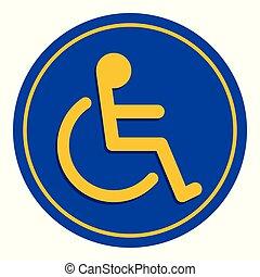 bleu, pente, conseils, échelle, cadre, incapacité, handicapé, signe, handicapé, couleurs, fond, manière, signes, sentier, écusson, symbole, gabarit