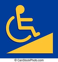 bleu, pente, conseils, échelle, cadre, incapacité, handicapé, signe jaune, handicapé, couleurs, fond, manière, signes, sentier, écusson, symbole, gabarit