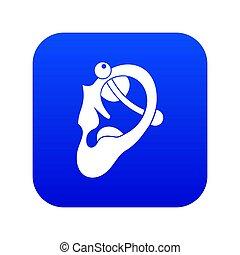 bleu, perçant, humain, numérique, oreille, icône