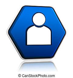 bleu, personne, bouton, signe