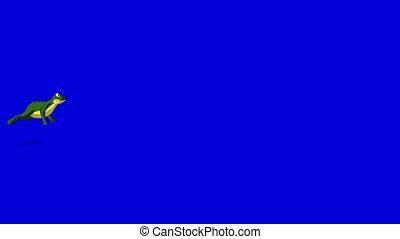 bleu, peu, écran, isolé, grenouille, sauts