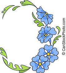 bleu, peu, frontière, conception, fleurs