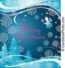 bleu, peu, magie, noël, ange, étoile, flocons neige, salutation, noël papier, découpage, croissant, babioles, bannière, puéril, sapins