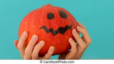bleu, peu, pense, fond, potiron orange