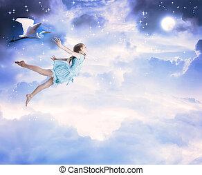 bleu, peu, voler, ciel, fille nuit