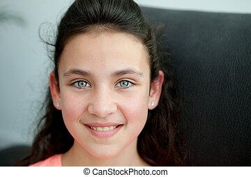 bleu, peu, yeux, girl
