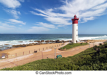 bleu, phare, marine, afrique, contre, nuageux, côtier, sud
