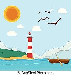 bleu, phare, mer, soleil, image, ciel, vecteur, fond, bateau