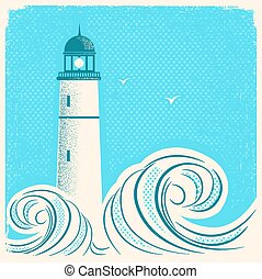 bleu, phare, vieux, marine, image, poster.vector, papier