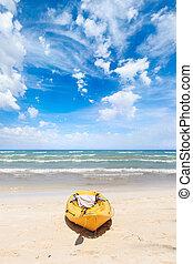 bleu, phi, golfe, sky., canoë, ko, océan, exotique, bateau, sous, thaïlande, plage, mettre, paysage