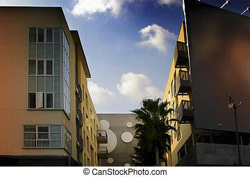 bleu, photo, bâtiments, ciel, jaune