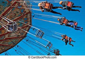 bleu, photo, ciel, action, carrousel