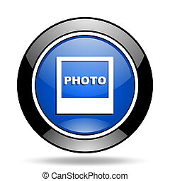 bleu, photo, lustré, icône
