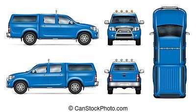 bleu, pick-up, vecteur, mockup