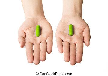 bleu, pills., donner, grand, faire, deux, choix, healthcare., mains, herbier, consept., ton, homme