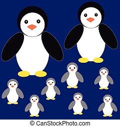 bleu, pingouins, fond