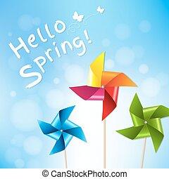 bleu, pinwheels, coloré, printemps, ciel, affiche