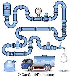 bleu, pipeline, fond