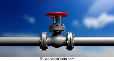 bleu, pipeline, industriel, bannière, soupape, ciel, illustration, fond, barbouillage, devant, vue., 3d