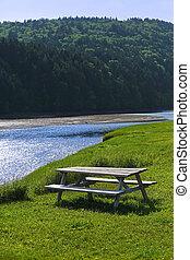 bleu, pique-nique, ruisseau, bois, forêt, table