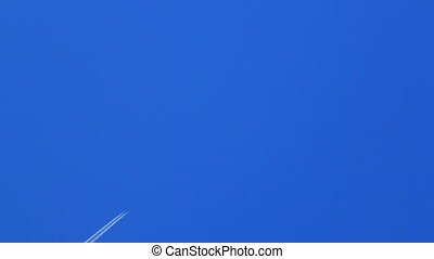 bleu, piste, avion, ciel, travers
