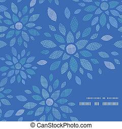 bleu, pivoine, modèle, cadre, textile, fond, coin, fleurs