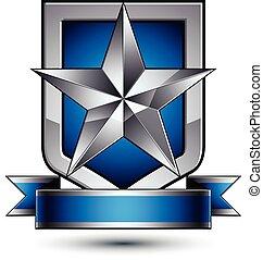 bleu, placé, étoile, bouclier, blazon, pentagonal, héraldique, royal, isolé, vecteur, argent, décoré, arrière-plan., raie, ondulé, sécurité, gabarit, blanc, géométrique, 3d