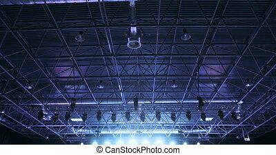 bleu, plafond, blanc, concert, projecteurs