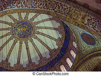 bleu, plafond, mosquée