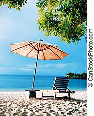 bleu, plage, ciel, chaise