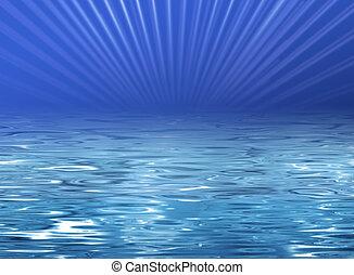 bleu, plage, -, illustration, eau