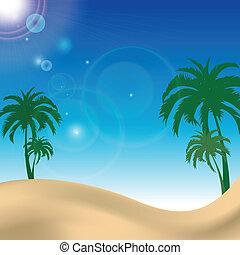 bleu, plage paume, ciel