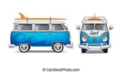 bleu, planche surf, autobus, réaliste, vecteur, retro