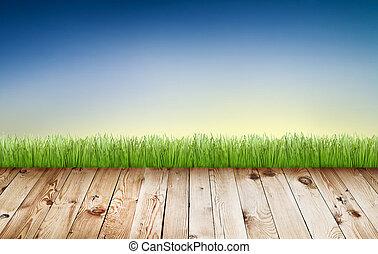 bleu, plancher, bois, printemps, ciel, vert, frais, herbe