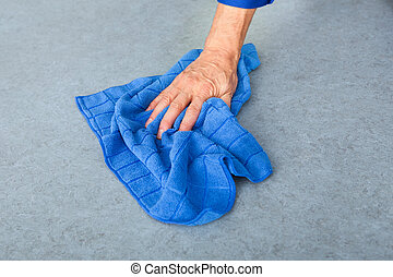 bleu, plancher, main, tissu, nettoyage, personne