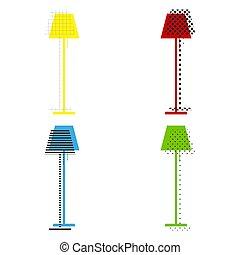 bleu, plancher, signe, lampe, jaune, vert, vector., rouges, illustration.