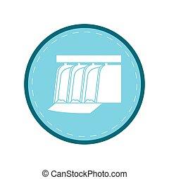bleu, plante, barrage, hydroélectrique, eau, station, cercle