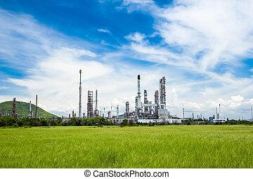 bleu, plante, huile, ciel, contre, raffinerie