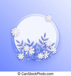bleu, plante, naturel, hiver, snowflakes., feuilles, illustration, vecteur, blanc, bannière, tomber