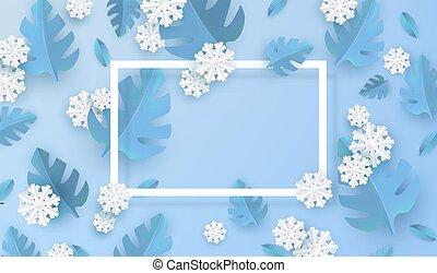 bleu, plante, naturel, hiver, snowflakes., feuilles, illustration, vecteur, blanc, bannière