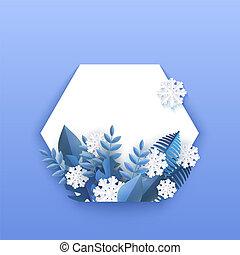bleu, plante, naturel, hiver, snowflakes., feuilles, illustration, vecteur, tomber, bannière, blanc