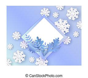 bleu, plante, naturel, hiver, snowflakes., illustration, feuilles, forme, vecteur, vide, rhombe, bannière