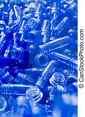 bleu, plastique, tubes